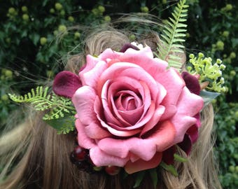 Barrette made of artificial flowers, berries and pink colors old rose bordeaux for wedding, bridesmaid