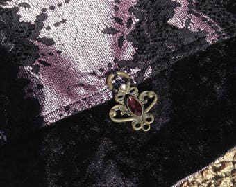 Purse Gothic, lolita, Victorian velvet see and old pink lace