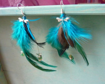 Dragonfly and turquoise feather earrings