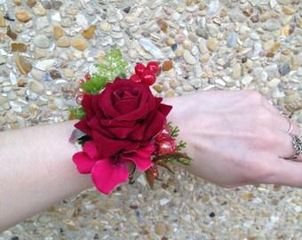 Artificial red rose - Burgundy bracelet