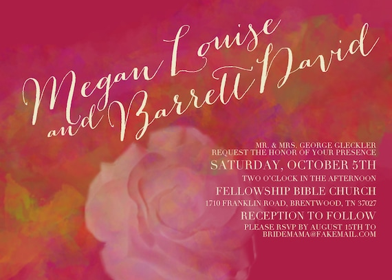 Wedding Invitations Portland Oregon: Custom Wedding Invitation PORTLAND Elegant