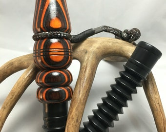 Ember Glow Laminate (charcoal, brown & orange) Deer Call with Adjustable Reed and Lanyard ~Available Now!