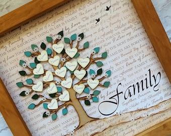 Family tree frame personalised family tree custom family tree parent gift grandparent gift family name tree wedding gift personalized & Custom family tree   Etsy
