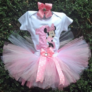 Minnie Mouse Hot Pink Purple 1st Birthday Outfit Bodysuit Tutu FREE Hair Bow Personalized Minnie Mouse Baby Toddler Little Girls Tutu Outfit