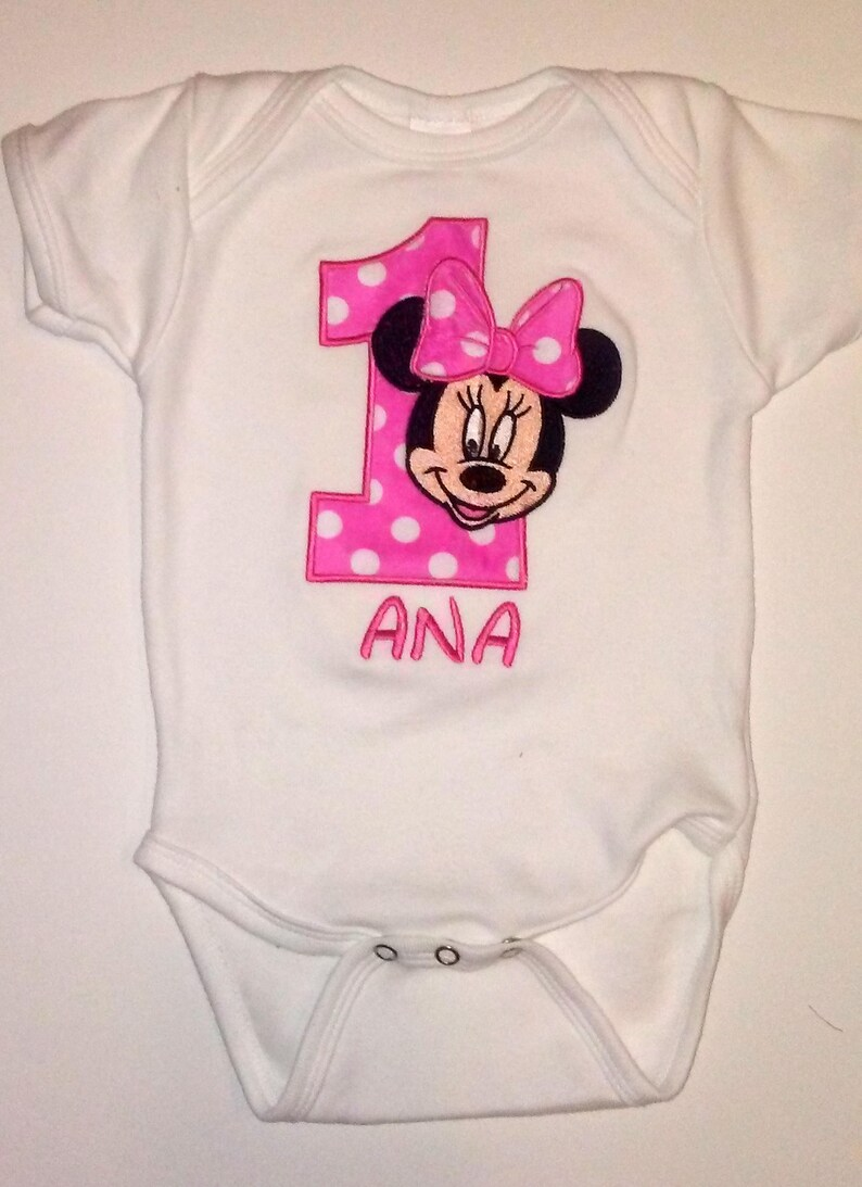 Hot Rosa Minnie Mouse 1 Compleanno Rosa Onesie Minnie Mouse Etsy