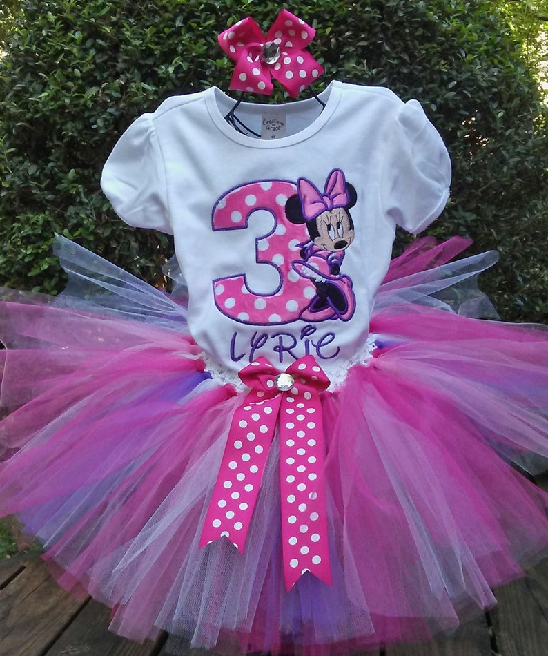 8684c3ba7831c Pink and Purple Minnie Mouse 3rd Birthday Outfit 3rd Birthday Shirt Pink  Minnie Mouse Birthday Shirt Minnie Mouse Birthday Outfit