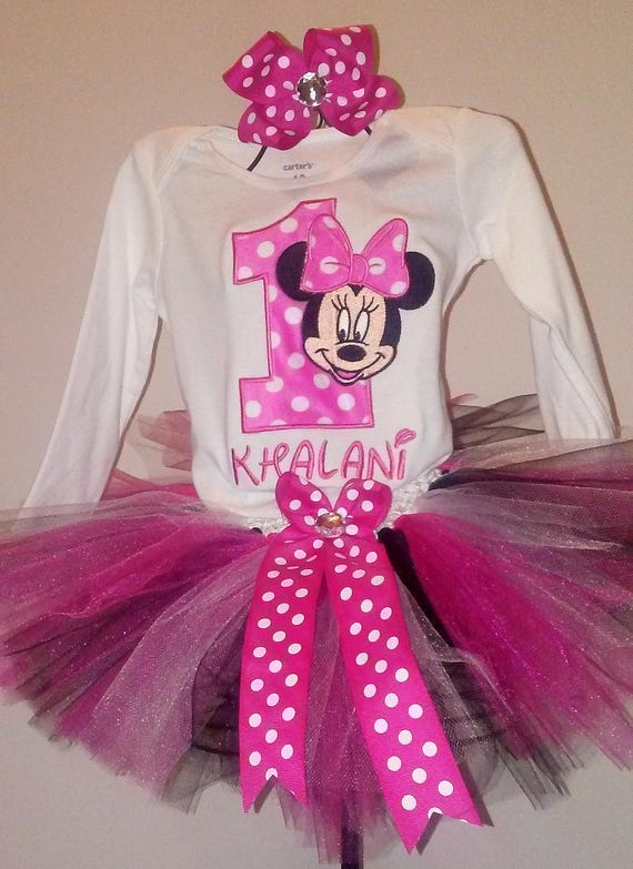 2abcc63be Hot Pink and Black Minnie Mouse 1st Birthday Outfit Pink | Etsy
