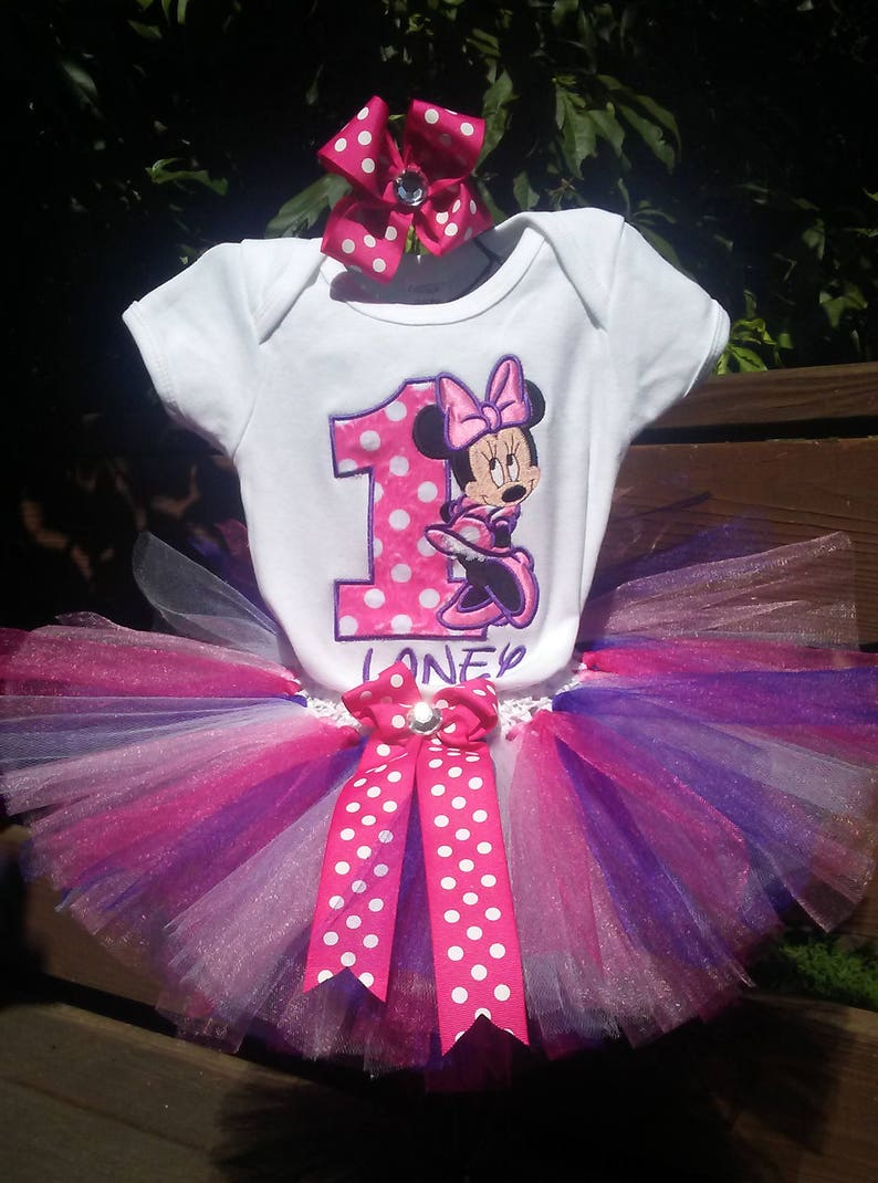 6de1c2aaf6e Hot Pink Purple Minnie Mouse 1st Birthday Outfit Bodysuit Tutu FREE Hair  Bow Personalized