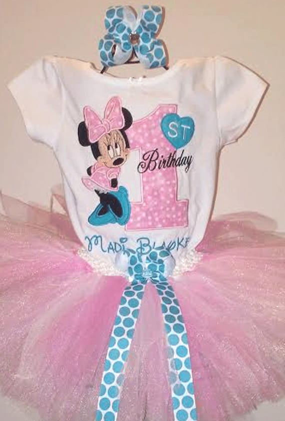 Minnie Mouse 1st Birthday Outfit.Minnie Mouse Pink And Turquoise 1st Birthday Outfit Onesie Tutu Free Hair Bow Personalized Minnie Pink Tutu Minnie Birthday Shirt Baby Girls