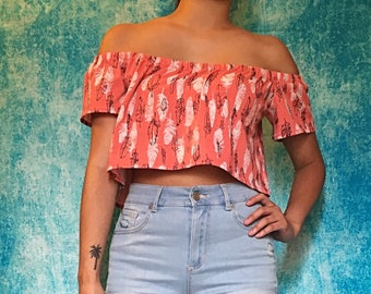Feathers High Low OTS Crop Top