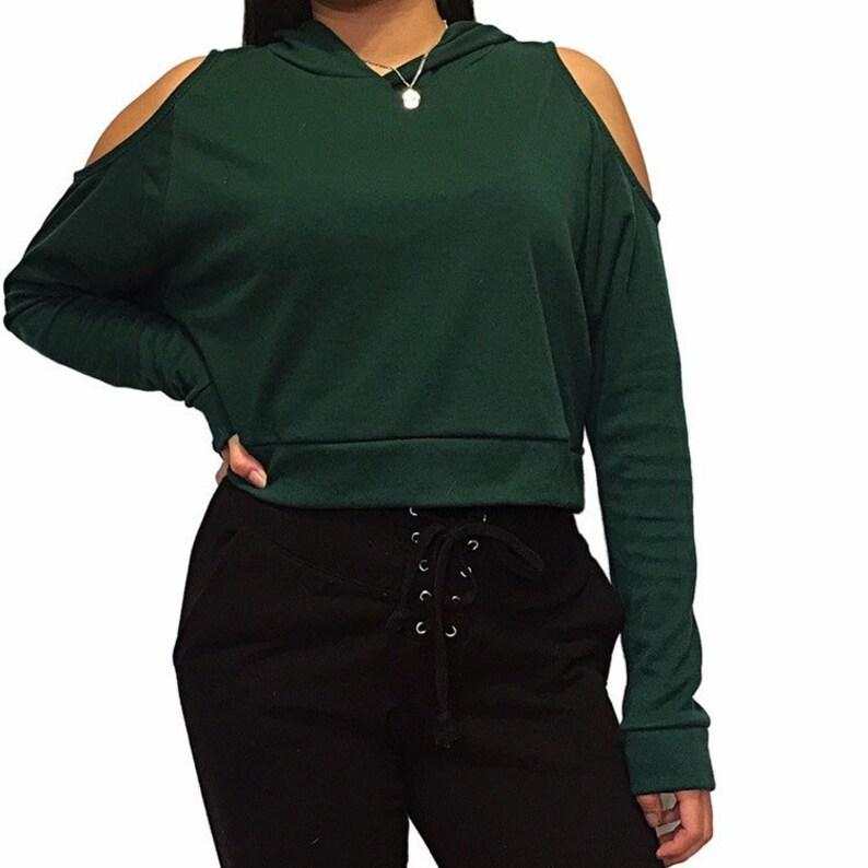 e517b8cf88fa0 Cold Shoulder Cropped Hoodie    crop top    hoodie