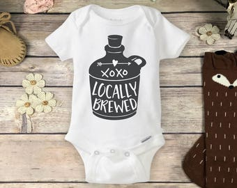 Locally Brewed Onesies® Brand or Carter's® Bodysuit Moonshine Jug Beer Drinking Baby Shirt Baby Shower Gift Hipster Coming Home Newborn Baby