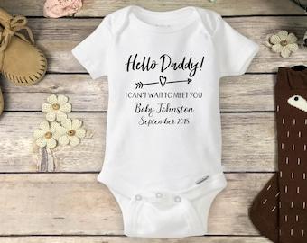 7143562e6 Hello Daddy Onesie Brand Bodysuit - Pregnancy Announcement to Husband - New  Dad Onesie Baby Announcement Pregnancy Reveal Daddy to Be Onesie