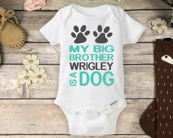 Personalized My Big Brother or Sister is a Dog Onesies® Brand or Carter's® Bodysuit Custom Big Brother Shirt With Name Baby Girl or Baby Boy