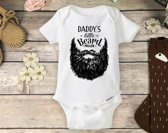 Beard Onesies® Brand or Carter's® Bodysuit Hipster Funny Baby onsie Fathers Day Gift Baby Pregnancy Reveal Shirt Daddy's Little Beard Puller