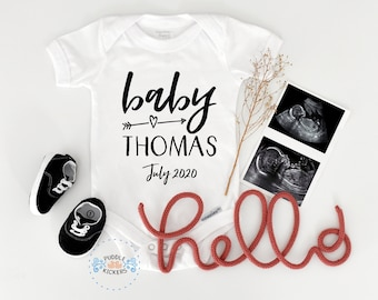 Baby Shower Gift Personalized Custom Name and Date Reveal Pregnancy Announcement Funny