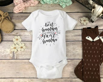 33b7ddba9 Pregnancy Reveal to Grandmother Onesies® Brand or Carter's® Bodysuit New  Baby Announcement Only the Best Grandmas get Promoted Great Grandma