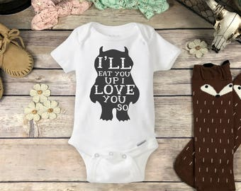 Cute Monster Onesies® Brand or Carter's® Bodysuit Cute Baby Colorful Take Home Outfit Unique Baby Shower Gift I'll Eat You Up I Love You So