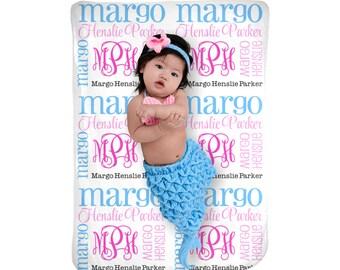 Subway Monogram Baby Name Blanket Monogrammed Baby Shower Babyshower Gift Personalized Photo Prop Baby Girl Receiving Toddler Kids Blanket