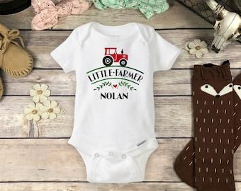 Custom Farm Onesies® Brand or Carter's® Bodysuit Little Farmer Tractor Country Baby Shower Gift Pregnancy Announcement Reveal Boy Girl onsie