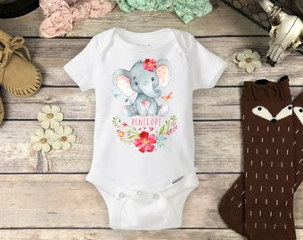 Personalized Elephant Onesies® Brand or Carter's® Bodysuit or T-Shirt, Baby Shower Gift Cute Watercolor Elephant Custom Name Baby Girl Onsie