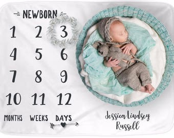Month to Month Baby Blanket - Personalized Name Date Growth Tracker Blanket - Monthly Milestone New Mom Baby Shower Gift Newborn Photo Prop