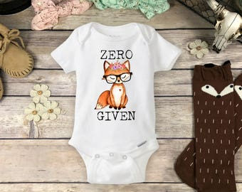 Baby Fox Onesies® Brand or Carter's® Bodysuit Boho Baby Clothes Cute Hipster Baby Girl or Boy Clothes Newborn Funny Baby Gift ZERO FOX GIVEN