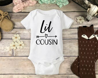 Lil Cousin Onesies® Brand or Carter's® Bodysuit, or Tee Shirt Cute Personalized Big or Little Cousin Pregnancy Announcement New Baby Reveal