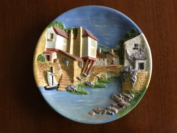 Italian Decorative Plates For Hanging.Vintage Chalkware Or Plaster Plate Wall Hanging Italian Scene River Venice Hill And Valley 3d Raised Art House Italy Countryside Home Bridge