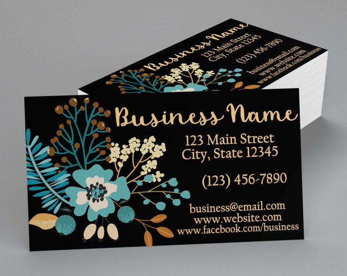 Custom Professional Business Cards - Turquoise Flowers
