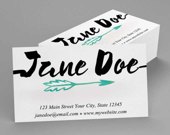 Printed Business Cards Watercolor Arrow