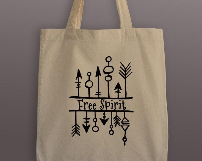 Free Spirit Tote Bag - Cotton Tote - Free Spirit Tribal - Free Spirit - Free Spirit Tote - Tote Bag - Grocery Bag - Tribal Tote Bag