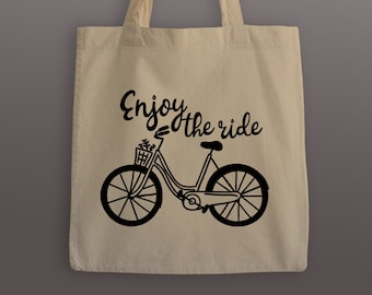 Enjoy the Ride cotton tote bag with your choice of black or black glitter print, custom bag, shoulder bag, wanderlust, bicycle