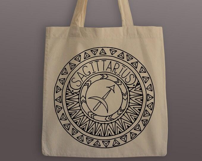 Sagittarius Zodiac Tote Bag - Cotton Tote - Zodiac Mandala - Sagittarius Tote - Sagittarius - Tote Bag - Zodiac Tote - Mandala Tote Bag