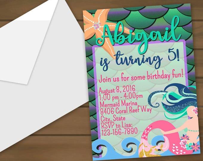 Mermaid Birthday Invitations - Mermaid Invitations - Birthday Party - Mermaid Invite - Mermaid Party - Mermaid Birthday - Pool Party Invites
