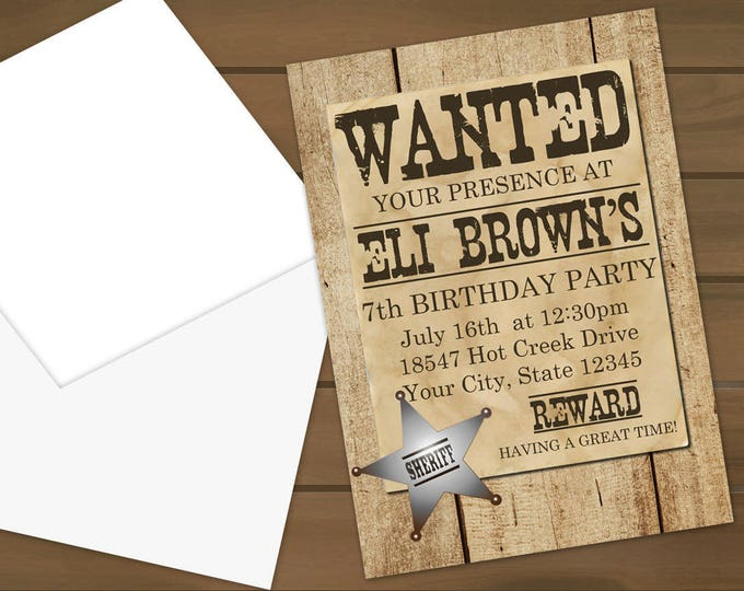 Wanted Poster Party Invitations
