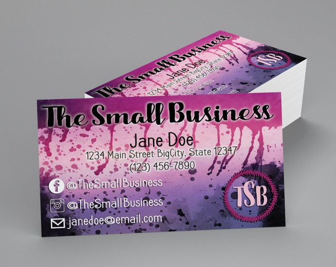 Custom Professional Business Cards - Pink and Black Watercolor
