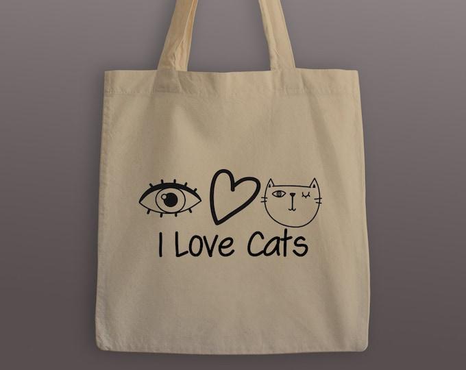 I Love Cats Tote Bag - Cotton Tote - Cat Tote Bag - Tote Bag - Carrier Bag - Grocery Tote - Cat Tote - I love Cats - Cat Bag - Totes - Bags