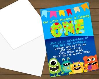 Monster Birthday Party Invitations - Birthday Party - Monster Invitations - First Birthday - Monster Party - Monster Birthday