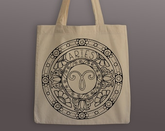 Aries Zodiac Tote Bag