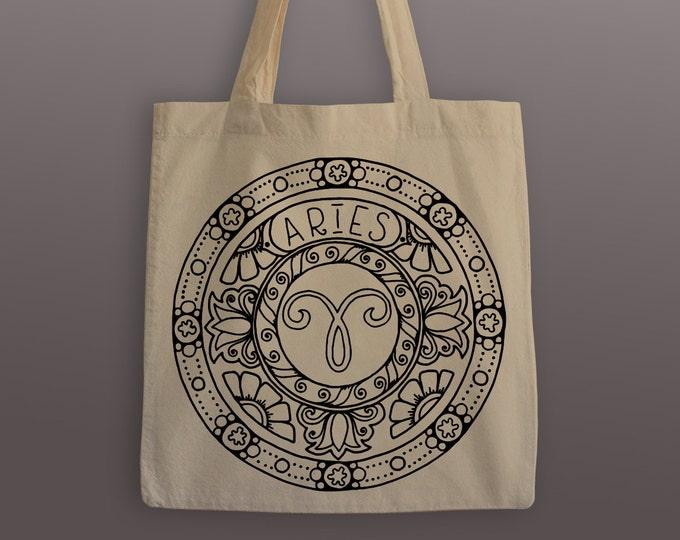 Aries Zodiac Tote Bag - Cotton Tote - Zodiac Mandala - Aries - Aries Tote Bag - Aries Mandala - Mandala Tote Bag - Grocery Tote - Mandala