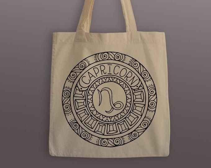 Capricorn Zodiac Tote Bag - Cotton Tote - Zodiac Mandala - Capricorn Tote - Capricorn - Zodiac Tote - Mandala Tote - Mandala - Grocery Bag