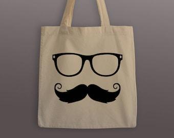 Mustache and Glasses Cotton Tote Bag
