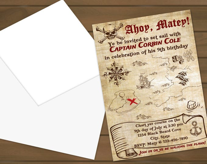 Custom Pirate Birthday Invites
