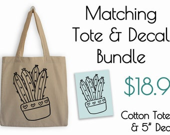 Cute Cactus Tote and Decal Bundle
