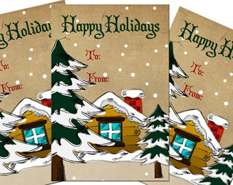 Printable Christmas Cabin Gift Tags