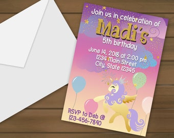 Unicorn Birthday Invitations - Unicorn Party - Birthday Party - Invitations - Birthday Invitations - Girls Birthday - Unicorn Invitations