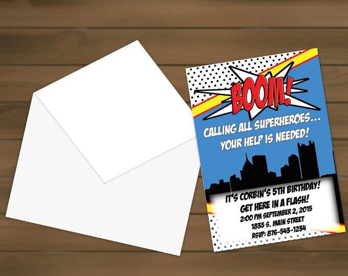 Super Hero Birthday Party Invitation - Super Hero - Birthday Party - Birthday Invite - Hero Invitations - Super Hero Invite - Birthday Party