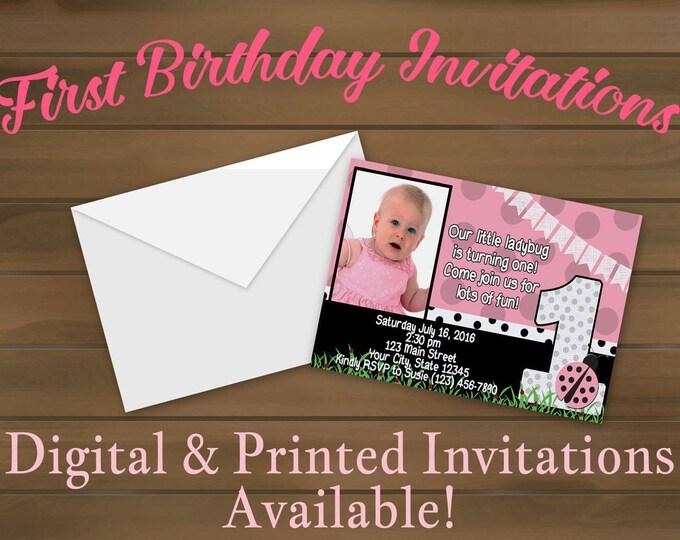 Pink Ladybug First Birthday Invitations - Ladybug - First Birthday - Ladybug Invitation - Ladybug Invites - Girls First Birthday