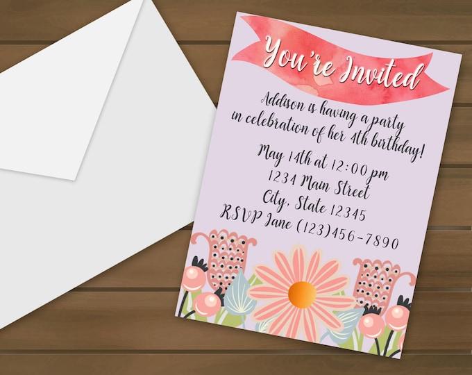 Pink Flowers Birthday Invitations